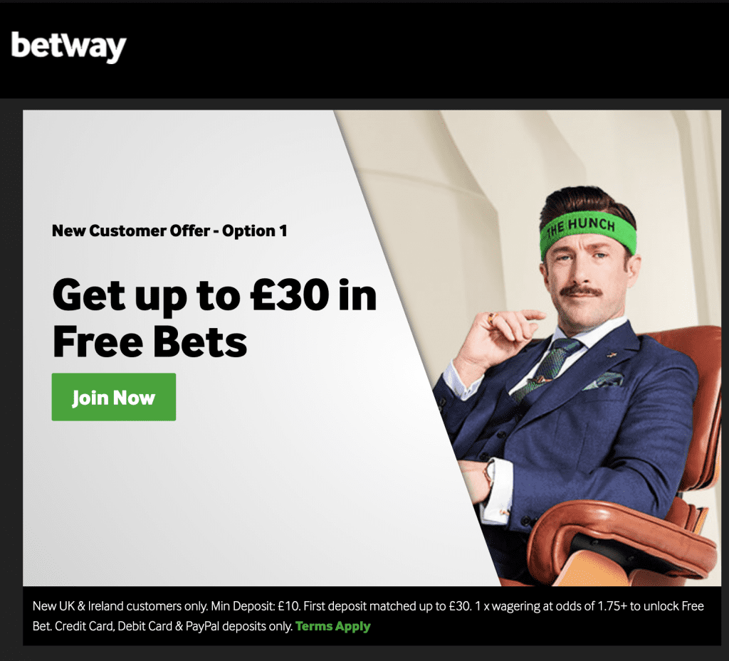 Betway £30 in free bets