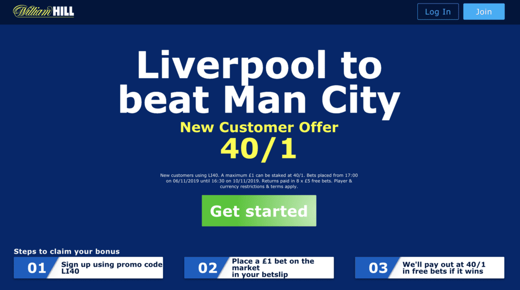 Screenshot 2019 11 06 at 20.16.42 1024x572 - 40/1 Liverpool To Win | Liverpool v Man City William Hill Enhanced Odds Offer
